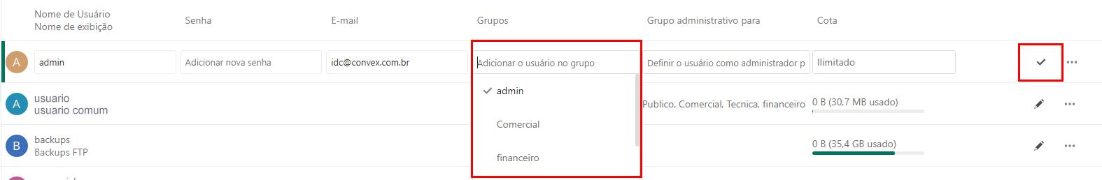 adicionar usuario ao grupo Nextcloud